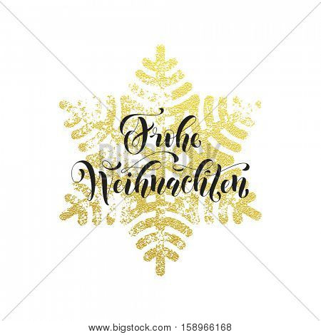 Christmas in Germany Frohe Weihnachten decorative vector greeting. German Christmas snow decoration background pattern of winter golden and silver snowflake crystal ornaments calligraphy lettering