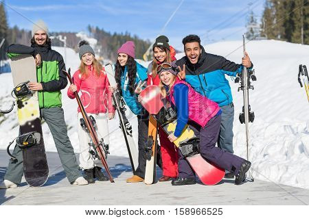 Group Of People Ski And Snowboard Resort Winter Snow Mountain Happy Smiling Friends On Holiday Extreme Sport Vacation
