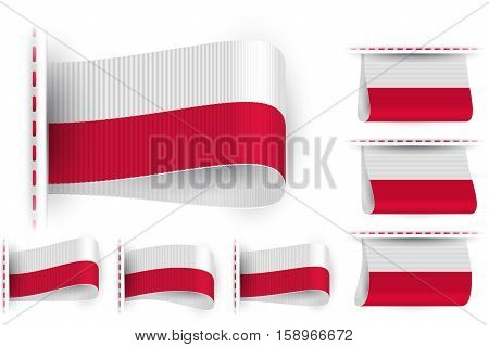 National state flag of Republic of Poland; Sewn clothing label tag; Vector icon set Poland flags Eps10