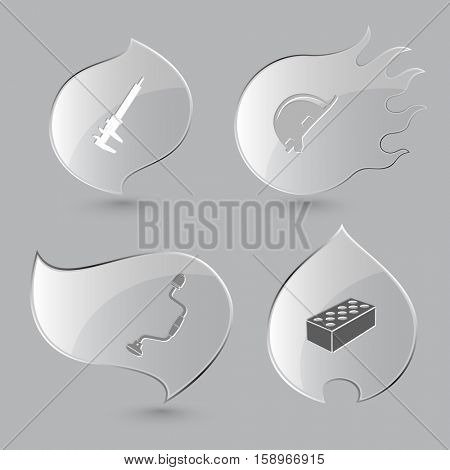 4 images: caliper, hard hat, hand drill, hollow brick. Industrial tools set. Glass buttons on gray background. Fire theme. Vector icons.