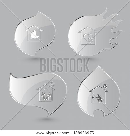 4 images: hothouse, orphanage, home celebration, toilet. Home set. Glass buttons on gray background. Fire theme. Vector icons.