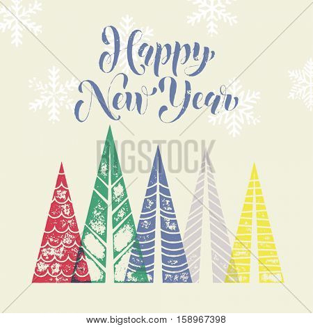 Winter forest background with winter trees greeting card. Happy New Year greeting card text with pine tree forest in geometric shape. Snow snowflakes background for New Year decoration
