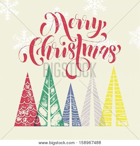 Christmas tree vector greeting card text lettering. Merry Christmas modern greeting card with pine tree. Winter holiday background with Christmas color fir pine trees in geometric shape