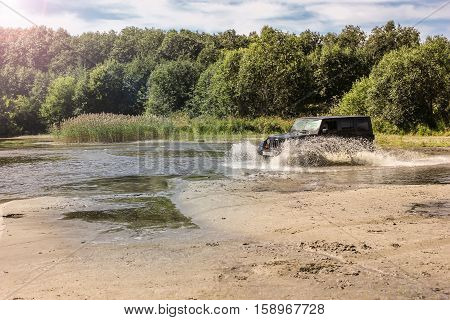 Leningrad Oblast, Karelia, Russia, Aug 15, 2013. journey in a Jeep Wrangler around lake Onega, the Jeep Wrangler is a compact four wheel drive off road and sport utility vehicle