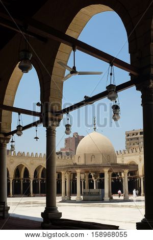 The Mosque of Amr ibn Al-Aas, was built in AD 642, in Cairo the capital of Egypt,
