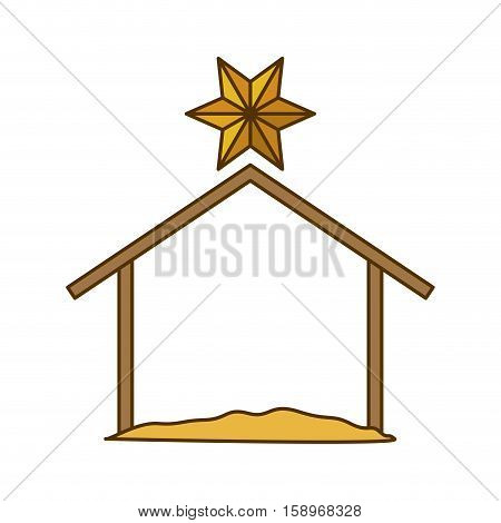 Holy house icon. Nativity merry christmas season and decoration theme. Isolated design. Vector illustration