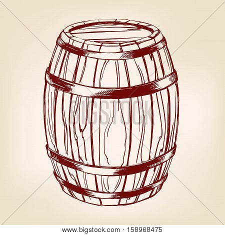 barrel wooden wine or beer hand drawn vector llustration realistic sketch