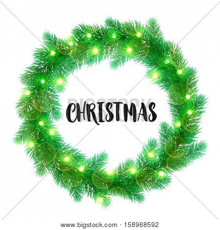Decorative wreath of Christmas lights garland decoration. Christmas tree wreath of of pine, fir, spruce branches. Merry Christmas bow door decoration design element with texture