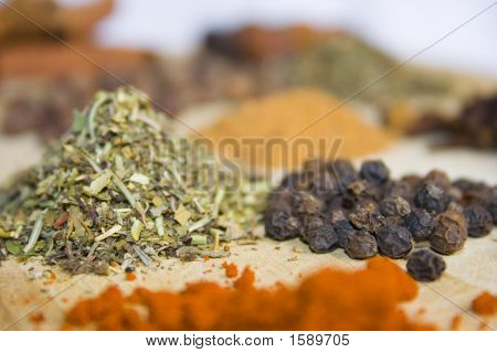 Different Spices On The Kitchen Table