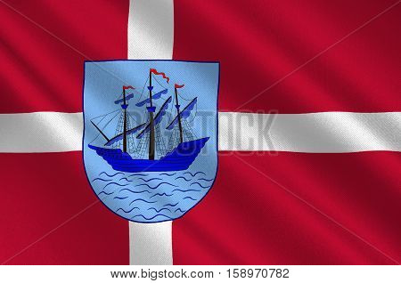 Flag of Helsingoer is a municipality in Region Hovedstaden of Denmark. 3d illustration