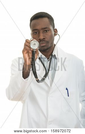 African-American black doctor man holding sthethoscope isolated white background.
