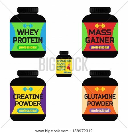 Sports nutrition supplements creatine whey protein gainer bars Flat style