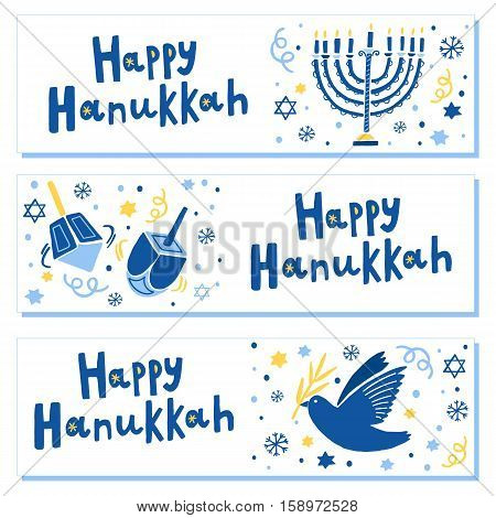 Vector Happy Hanukkah banner set. Hanukkah Festival of Lights