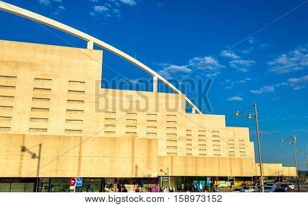 Zaragoza, Spain - October 9, 2016: Facade of Zaragoza-Delicias railway station. The new station was opened on 7 May 2013