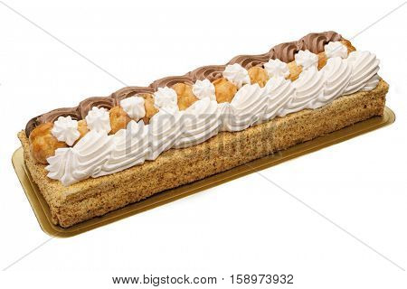 saint honoré cake, rectangular shape, isolated