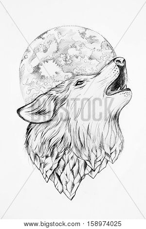 Sketch of wolf howling at the moon white background.