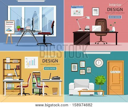Office rooms set. Detailed graphic room interiors with furniture:qq tables, chairs, laptops and office supplies. Modern workplaces. Flat style vector illustration.