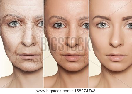 Beauty concept skin aging anti-aging procedures on caucasian woman face
