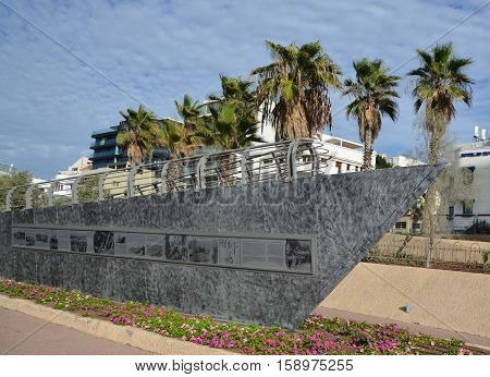 TEL AVIV ISRAEL 04 11 16: Memorial Exodus was a ship that carried Jewish emigrants . Most of the emigrants were Holocaust survivors the British seized the ship and deported passengers back to Europe
