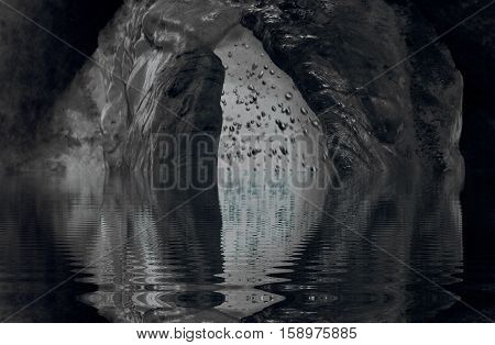 Crystal Ice Cave Digital Art Photography by Selfcreative