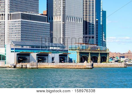 NEW YORK,USA - AUGUST 22,2016 :The South Ferry Terminal of the Staten Island Ferry seen from the New York Harbor