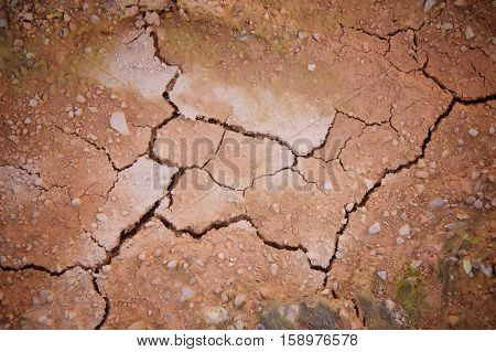 Texture background of cracked earth when waterless
