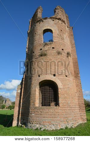 Circus of Maxentius old brick tower along Ancient Appia Way in Rome