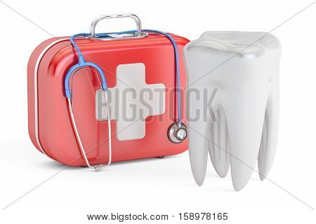 Tooth and First Aid Kit dental first aid concept 3D rendering isolated on white background