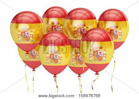 Balloons with flag of Spain holyday concept. 3D rendering isolated on white background