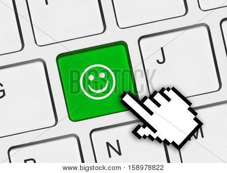 Computer keyboard with smile key - business concept - 3D illustration