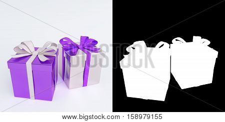glossy purple and white christmas gifts isolated on white with alpha mask - 3D render.