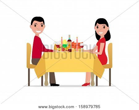 Vector illustration cartoon romantic dinner by candlelight, meeting of man and woman. Rendezvous lovers. Meet beloved. Isolated white background. Flat style. Guy and girl at festive table.