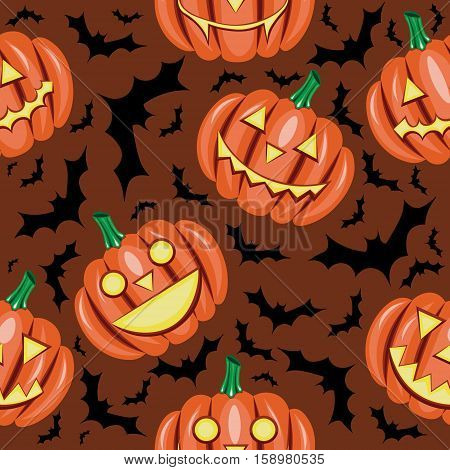 Halloween seamless pattern vector with pumpkin and bat