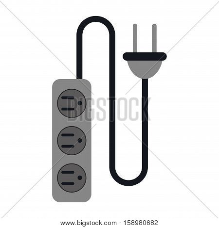 electric extension cord cable and plug three outlets vector illustration eps 10