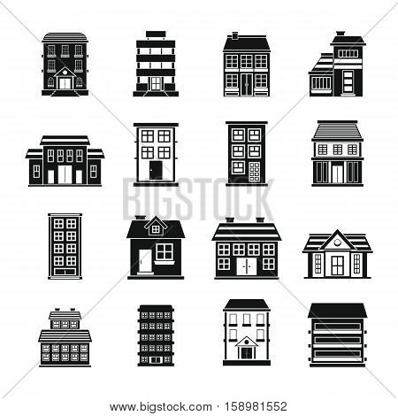 Buildings set in black flat style isolated on white background vector stock illustration