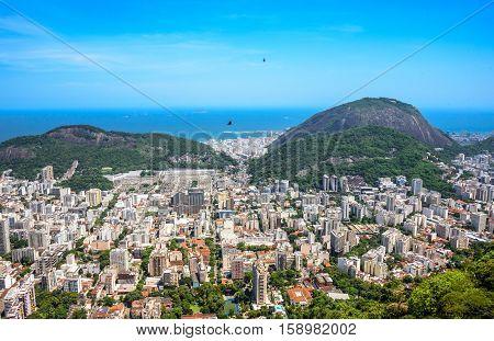 View on Zona Sul - Botafogo, Humaita, Copacabana from Mirante Dona Marta at the National Park of Tijuca, Rio de Janeiro, Brazil