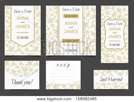 Beautiful wedding set of printed materials with a abstract design. Wedding invitation card save the date cards R.S.V.P. and thank you card.