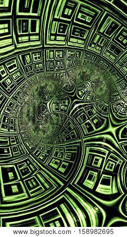 Curved grid - abstract computer-generated image. Fractal geometry: curved, distorted rectangular cells. Vertical technology background or desktop wallpaper.