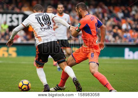 VALENCIA, SPAIN - NOVEMBER 20th: 19 Rodrigo during La Liga soccer match between Valencia CF and Granada CF at Mestalla Stadium on November 20, 2016 in Valencia, Spain