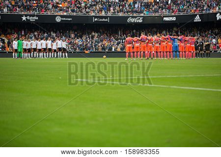 VALENCIA, SPAIN - NOVEMBER 20th: All players during La Liga soccer match between Valencia CF and Granada CF at Mestalla Stadium on November 20, 2016 in Valencia, Spain