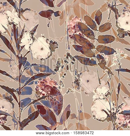art vintage blurred monochrome brown and beige watercolor and graphic floral seamless pattern with roses, grasses and leaves on background. Double Exposure effect