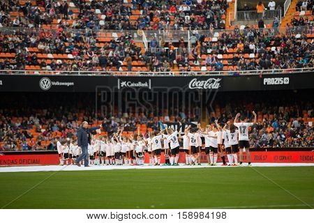 VALENCIA, SPAIN - NOVEMBER 20th: Valencia supporters during La Liga soccer match between Valencia CF and Granada CF at Mestalla Stadium on November 20, 2016 in Valencia, Spain