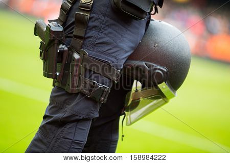 VALENCIA, SPAIN - NOVEMBER 20th: Police detail during La Liga soccer match between Valencia CF and Granada CF at Mestalla Stadium on November 20, 2016 in Valencia, Spain