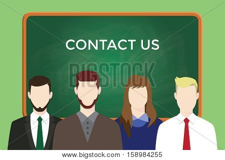 contact us business illustration team stand together with text on green board as background vector