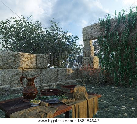 stilllife on nature background  with ancient ruins, books, olive and pitcher