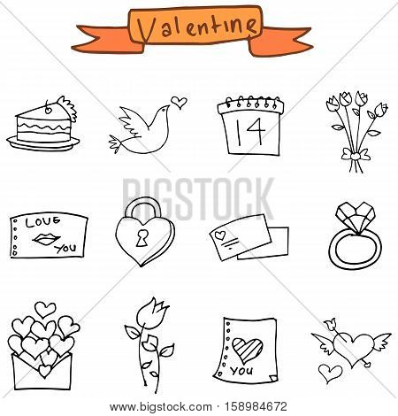 Hand draw element valentine icons collection stock