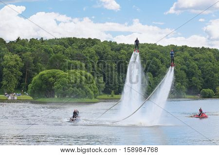 MOSCOW - JUN 06, 2015: Aquabike show at the festival of fire and rescue service in the park Tsaritsyno