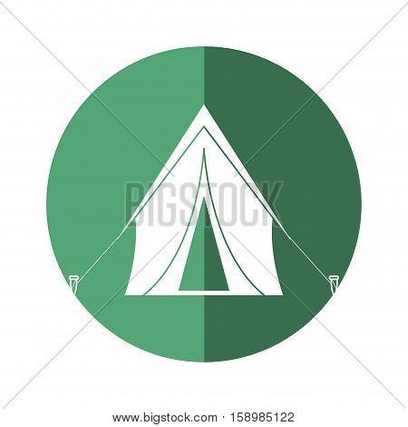 tent equipment camping activities green circle shadow vector illstration eps 10