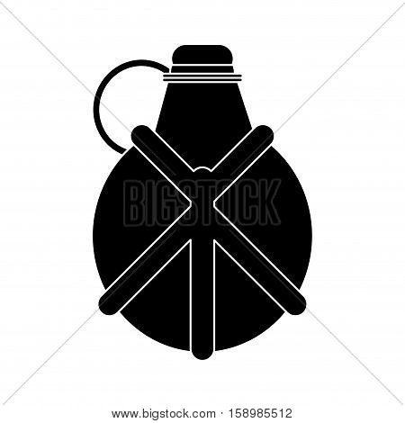 silhouette water canteen equipment camping vector illustration eps 10