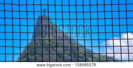 Square grid and blurry Corcovado mountain on the background. View from Mirante Dona Marta at the National Park of Tijuca, Rio de Janeiro, Brazil